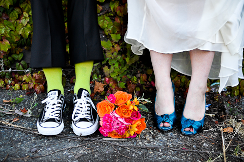 colorful wedding shoes and socks
