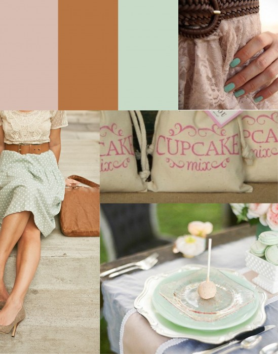 Mint pink tan wedding Lovely Nails Trendy Lady Cupcake Mix Favors
